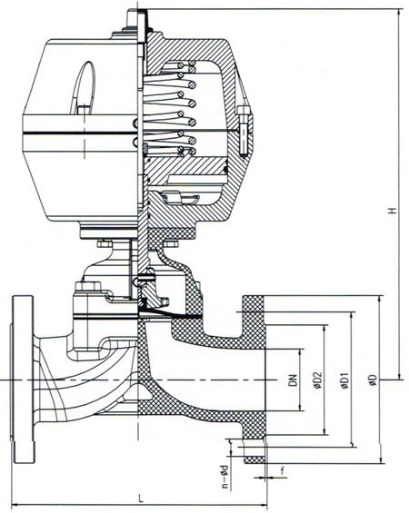 气动衬氟隔膜阀 内部结构图