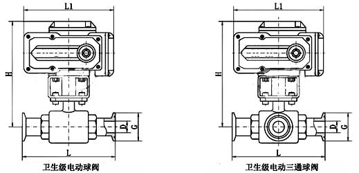 电动卫生级球阀_尺寸图