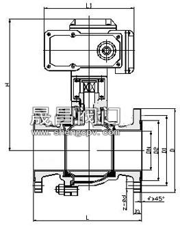 电动衬氟球阀_尺寸图