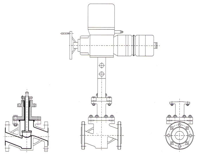 电动衬氟调节阀 尺寸图