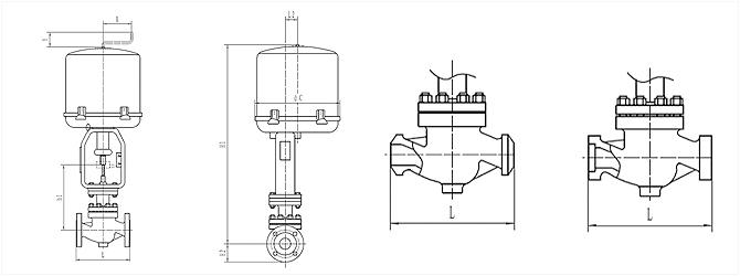 電動單座籠式調節閥 ZRSL外形尺寸圖