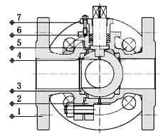 气动三通球阀_内部结构图