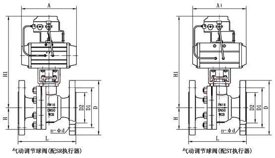 气动二片式调节球阀_外形尺寸