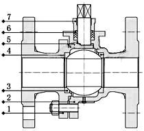 气动二片式调节球阀_内部结构图