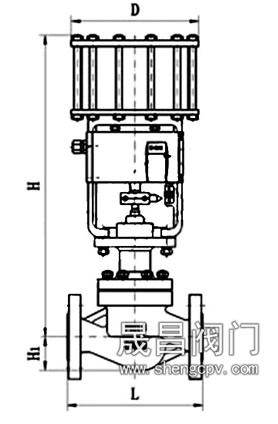 气动活塞式调节阀_尺寸图
