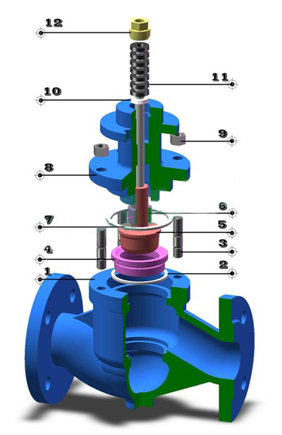 气动薄膜单座调节阀_结构图