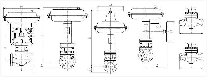 气动薄膜单座调节阀 外形尺寸图